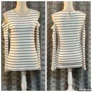 Vince Camuto Striped Cold Shoulder Top Size Small